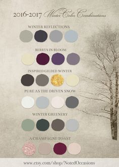 2016 winter wedding color combinations and trends for 2017 winter weddings. Pick a color and visit the store for coordinating winter wedding invitations/