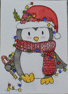 ACEO Original Watercolour and Pen - Penguin Christmas Collection | Art, Paintings | eBay!