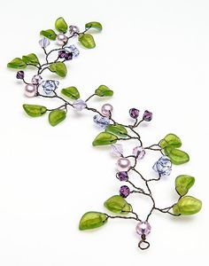 Green Purple Hair Vine Bridal Hair Vine by CherylParrottJewelry, $71.95