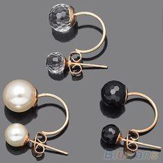 Womens Fashion Dauble Beads Crystal Rhinestone Ear Stud Earrings 2MZ2 5PYB
