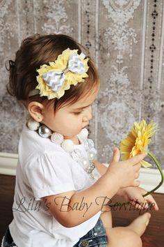 Baby Headband - Soft Yellow Shabby Chic Flowers with Grey Chevron Bow on Headband - Newborn, Baby, Infant, Toddler Headband Photo Prop