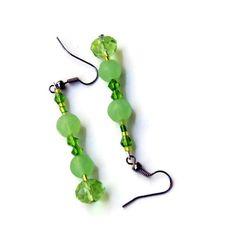 Sparkling Green Dangle Earrings/ Festive Earrings/ by ALFAdesigns, $9.99