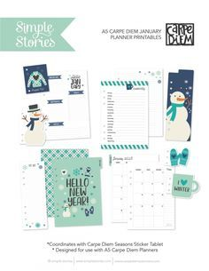 Carpe Diem January FREE Printables - click for A5, Personal and Traveler's Notebook sizes!