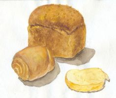 A4, watercolor  bread