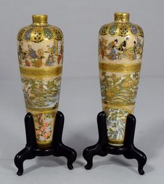 GREAT PAIR OF JAPANESE SATSUMA VASES BY MEIZAN (JAPAN)