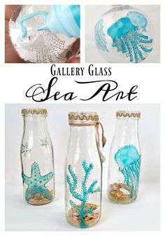Gallery Glass Sea Art Tutorial. A simple way to use Gallery Glass paint and Sharpie paint pen to create translucent sea art glass. #coastal