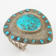 Large Vtg Navajo GEORGE GUERRO Sterling Silver Bisbee Turquoise Cuff Bracelet |G