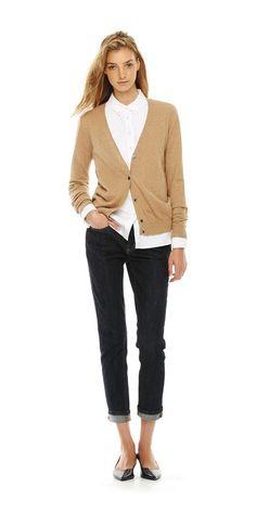 Camel cardigan, black pants, white blouse shirt