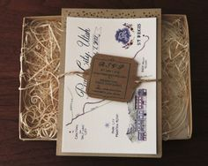 Rustic wedding invitation in a box