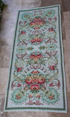 Vintage Damask Tapestry Floral Runner Wall Hanging, Bed runner Table runner by VintageHomeStories, Shabby Chic Decor, Rustic Decor, Cottage Chic, Garden Cottage, Mint Green Background, Floral Tablecloth, Mediterranean Decor, Bed Runner, Moroccan Decor