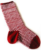 Candy Cane Christmas Stocking, from the book Beyond Knit and Purl by Kate Atherley. cooperativepress.com