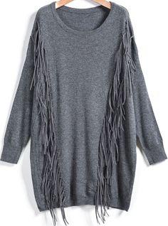 Jersey suelto flecos manga larga-gris 24.93