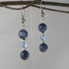 Kyanite AAA quality gems with light Sapphire #Swarovski crystal ~ Perfect for jeans! #earrings #jewelry #gemstones