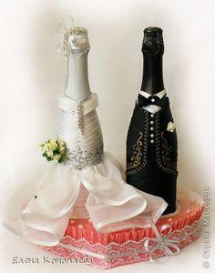 Декор предметов Свадьба Свадебная тема  Краска Кружево Ленты фото 8