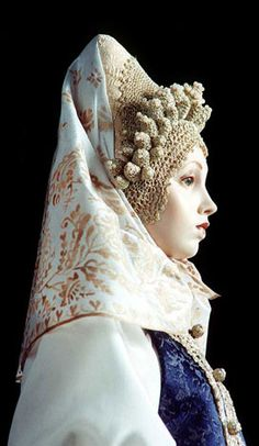 Marfa: Marfa's costume is an ethnographically exact ceremonial costume of a newly wed peasant woman, traditional for Toropets region, Pskov Province (late 18-th - early 19-th century). LE 150  by Alexandra Koukinova