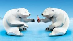 Create Your Very Own Polar Bears Paper Models - by Coca-Cola - == -  These two very well done paper models of Polar Bears were created as a Coca-Cola promotion.