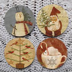 Christmas Folks -- Folk Art Christmas Mousepad Coaster Set