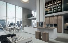 Cool contemporary kitchen with the warmth of wood