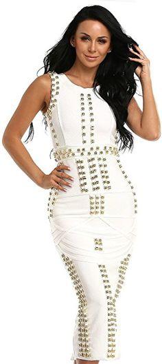 Amazon.com  Hego Women s Sleeveless Beaded Long Bandage Bodycon Maxi Dresses  HL166(XS 71d1ad124