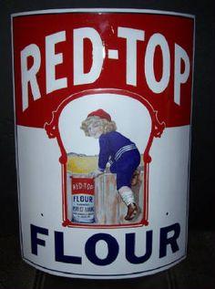 Red top flower curved porcelain sign