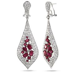 5.97ct Diamond & 5.44ct Ruby 14k White Gold Earrings