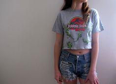 Jurassic Park Crop Top Cropped Tee Shirt Womens Midriff Universal Studios 90s Dinosaur Movies Summer
