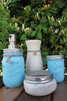 Mason Jar Soap Dispenser Bathroom Set 4 by SwiftRiverCreations, $32.50