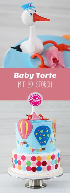 Baby Torte mit Storch / Baby Shower Cake / Babyparty This baby cake with a stork is great for Stork Baby Showers, Baby Shower Cakes, Shower Baby, Sweet Recipes, Cake Recipes, Dessert Recipes, Desserts, Storch Baby, Backen Baby