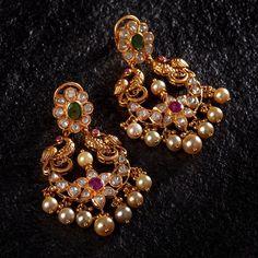 The Creative Jewellery Destination Gold Jhumka Earrings, Indian Jewelry Earrings, Jewelry Design Earrings, Gold Earrings Designs, Antique Earrings, Drop Earrings, Gold Bangles Design, Gold Jewellery Design, Gold Wedding Jewelry