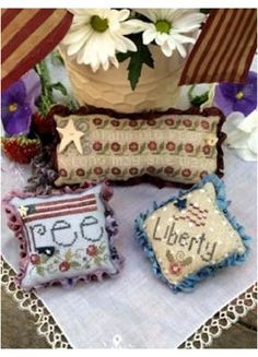 American Trifles is the title of this cross stitch pattern from Shepherd's Bush that is stitched with Weeks Dye Works (Grits, Kudzu, Red Pea...