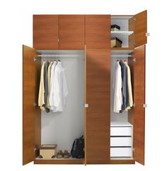 Alta Wardrobe Closet Package - 3 Drawer Wardrobe Extra Tall ~ Check out the version w/the solid mirrored doors! Corner Wardrobe Closet, 4 Door Wardrobe, Diy Wardrobe, Wardrobe Storage, Wardrobe Design, Closet Space, Bedroom Storage, Stand Alone Closet, Cheap Wardrobes