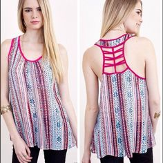 Aztec Print Tank Top features Aztec print with caged back.  Lowest prices are listed upfront. Thanks for looking! Tops Tank Tops