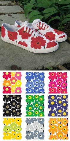 Top Photo: DIY by Just Crafty Enough, Bottom Photo: Color combinations from Marimekko's timess Unikko fabric with poppies here. Tutorial from Just Crafty Enough. *I'd use Stained by Sharpie Pens that you can even wash. Painted Canvas Shoes, Painted Sneakers, Hand Painted Shoes, Sharpie Shoes, Sharpie Pens, Sharpies, Sharpie Canvas, Marimekko Fabric, Floral Sneakers