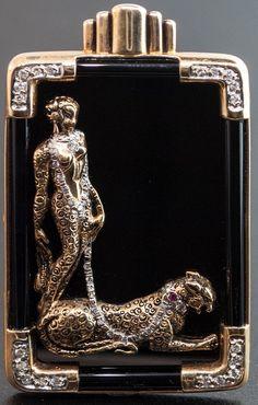 Erté - Bijoux - Broche - Alphabet - Lettre L - Onyx, Rubis et Diamants