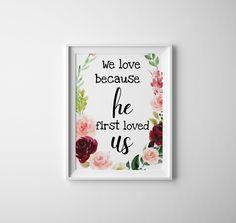 Biblical digital print by DigitalWallTreasures on Etsy He First Loved Us, Printable Wall Art, Digital Prints, Printables, Unique Jewelry, Handmade Gifts, Etsy, Fingerprints, Kid Craft Gifts