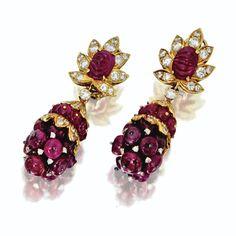 Pair of ruby bead and diamond pendant-earclips, Van Cleef  Arpels, New York, 1964