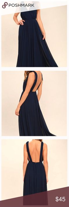 Lulu's Dance the Night Away Backless Dress NWOT NWOT DANCE THE NIGHT AWAY NAVY BLUE BACKLESS MAXI DRESS -- LULUS Never worn! Perfect condition! Size: Small  Color: Navy  Make an offer! Lulu's Dresses Maxi