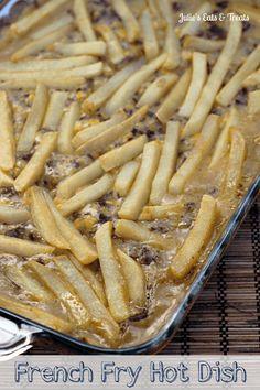 French Fry Hot Dish ~ Classic hot dish piled with hamburger, corn, cheese and french fries! via www.julieseatsandtreats.com
