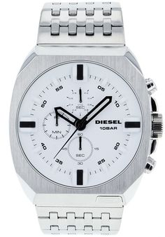 Price:$143.88 #watches Diesel DZ4262, Stainless Steel case, Stainless steel bracelet, White chronograph dial, Quartz movement, Scratch-resistant mineral, Water resistant up to 10 ATM - 100 meters - 330 feet