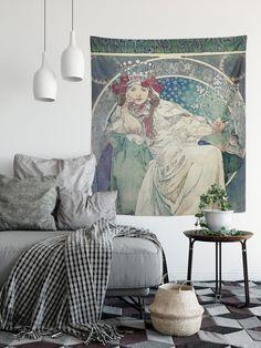 Art Nouveau Tapestry Bohemian Wall Hanging Boho Pastel | Etsy