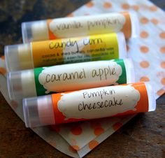 "Lip Balm gift pack of Limited Edition balms - Set of 4- Caramel Apple, Pumpkin Cheesecake, Candy Corn and Vanilla Pumpkin. Hey @Karen Anderson this looks like a perfect thing to put in a ""Welcome Autumn"" care package ;) $14.00"