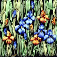 Silk ribbon Iris