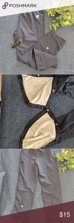 👛3/$30⬇️VTG Champion TearAway Snap Pants Track Well Loved These original Champion athletic pants were THE trendy pants to have and wear in 98/99! Full snap closure along both legs, lined, drawstring waist. There are a few issues as these were well loved: -elastic waistband has lost most of it's stretch; you'll have to use the drawstring to cinch -some minor dark spots/stains on the legs, only visible upon very close inspection with naked eye -minor creasing in the heel area  -seams have…