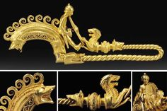 A Highly Important and Exceptional Celtic La Tene Gold Warrior Fibula