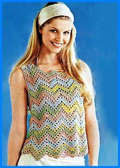 Viviana Rodriguez Moreno's media content and analytics Punto Zig Zag Crochet, Crochet Gratis, Crochet Tank, Crochet Cardigan, Love Crochet, Knit Crochet, Zig Zag Pattern, Top Pattern, Easy Stitch