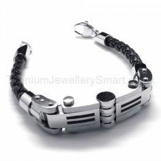New Mens Stylish Titanium and Leather Bracelet 18714