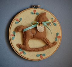 8 Embroidery Hoop Art Wall decor rocking Horse by ilovemadeleine, $45.00