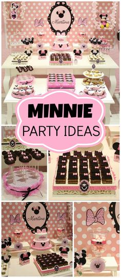 What an adorable pink and black Minnie Mouse party! See more party ideas at CatchMyParty.com!