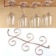 8 Wine Glass Rack Stemware Hanging Under Cabinet Holder Bar Kitchen Display Hanging Wine Glass Rack, Wine Glass Shelf, Wine Glass Holder, Glass Shelves, Wine Holders, Wine Glass Storage, Bar Displays, Glass Kitchen, Bar Kitchen