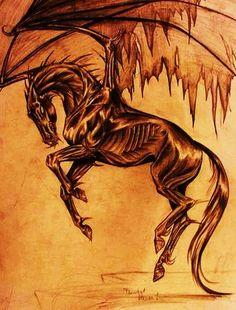 Thestral by AnnaNicola on DeviantArt Harry Potter Tattoos, Arte Do Harry Potter, Harry Potter World, Magical Creatures, Fantasy Creatures, Thestral Tattoo, Demon Horse, Winged Horse, Arte Obscura